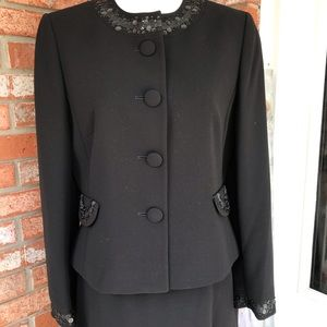 EUC Tahari Round Neck Embellished Skirt Suit